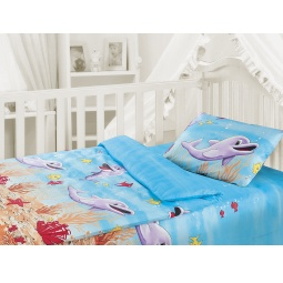 фото Детский комплект постельного белья Облачко «Дельфины»