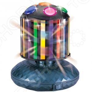 Диско-шар Funray Сигнал 222Световые установки<br>Диско-шар Funray Сигнал 222 световой шар для создания праздничной атмосферы в помещении: в квартире, на даче, в офисе, клубе или любом другом помещении. День рождения, Новый Год, юбилеи, свадьбы и другие праздники станут намного ярче и наряднее. Благодаря своей форме лучи светильника рассеиваются по всей площади помещения. Горизонтальное вращение вокруг своей оси, 1D. Подходит для залов от 20 до 40 кв м. Диаметр шара 130 мм.<br>