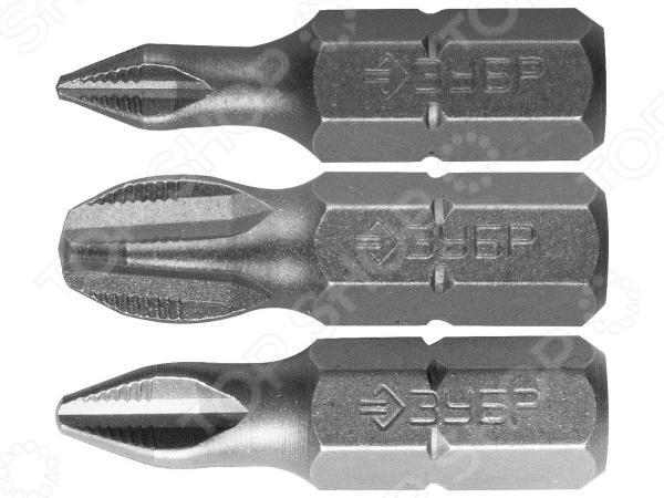 Набор бит Зубр «Мастер» 26009-PH-H3Наборы бит и насадок<br>Набор бит Зубр Мастер 26009-PH-H3 комплект сменных насадок для универсального монтажного инструмента. Биты изготовлены из высокопрочной хромомолибденовой стали и снабжены намагниченными РН-шлицами PH1, PH2, PH3 . Прецизионная заточка граней обеспечивает высокую точность и отличное качество выполняемых работ. Наличие специальных насечек предотвращает выскальзывание шлица из крепежа.<br>