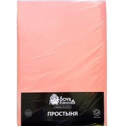 фото Простыня гладкокрашеная Сова и Жаворонок Premium. Цвет: светло-розовый. Размер простыни: 145х220 см