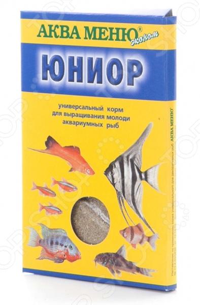 Корм для мальков Аква Меню «Юниор»Витамины и добавки. Корм для рыб<br>Корм для мальков Аква Меню Юниор универсальная смесь, которая станет отличной подкормкой для молоди различных аквариумных рыб, в том числе и живородящих, сомов, цихлид и пр. Кормить мальков таким составом необходимо 1-2 раза в день, не более того. В противном случае избыточное количество смеси может привести к нарушению функционирования организма и биологической среды самого аквариума. После вскрытия использовать корм в течение, максимум, 2-х месяцев. Содержание: протеин 48 , жир 10 , клетчатка 5,2 , влага 10 .<br>