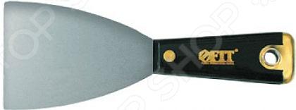 Шпатель для удаления ржавчины FIT «Профи»Шпатели<br>Шпатель FIT Профи это незаменимый инструмент при проведении внешних и внутренних строительных или ремонтных работ. Представленная модель предназначена для удаления ржавчины или очистки поверхности от старой шпатлевки. Твердое лезвие изготовлено из полированной усиленной стали HRC 72-78 толщина 1 мм и имеет заточенную грань, поэтому работать таким шпателем легко, быстро и удобно. Пластиковая ручка эргономичной формы обеспечит надежный и уверенный хват. Оснащена отверстием для подвеса на крючок и металлическим бойком.<br>