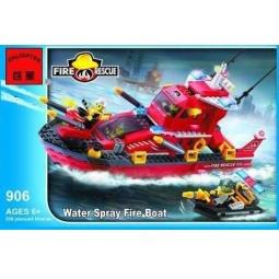 фото Конструктор игровой для ребенка Brick «Катер пожарный» 906