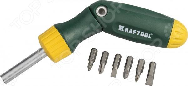 Отвертка реверсивно-рычажная с битами Kraftool Expert Bit-Lock 26150-H7