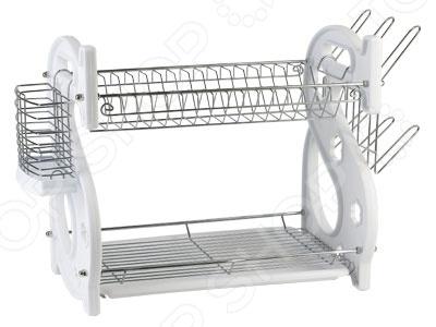 Сушилка для посуды Rosenberg 6802Сушилки для посуды<br>Сушилка для посуды Rosenberg 6802 станет важным дополнением вашей кухни, ведь с ней сушка и хранение посуды перестанут быть трудоемкими и утомительными процессами. Если вы не любите протирать тарелки после мытья, то данная сушилка создана именно для вас! Корпус изделия изготовлен из металла, конструкция оснащена удобными отделениями для тарелок, кухонных приборов и стаканов. Кроме того, модель оснащается объемным поддоном для сбора воды.<br>