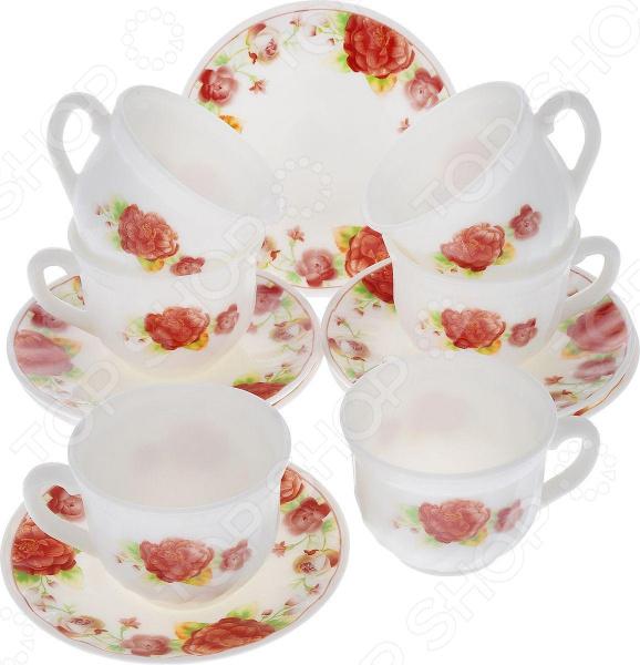 Набор чайных пар Miolla «Камелия»Чайные и кофейные пары<br>Набор чайных пар Miolla Камелия станет незаменимым элементом среди коллекции вашей посуды. Ежедневное чаепитие в компании семьи или друзей ни с чем не сравнить. Все собираются в уютной атмосфере за одним столом и наслаждаются общением, делятся своими впечатлениями о прошедшем дне. И тут не обойтись без красивой посуды, из который приятно выпить ароматного чаю.  На изящные чашки и блюдца нанесен нежный рисунок, способный внести яркий штрих в сервировку и праздничного, и повседневного стола.  Набор включает 6 чашек по 250 мл и 6 блюдец диаметром 14 см.  Российский бренд. Посуда выполнена в соответствии с современными гигиеническими и технологическими стандартами.  Чайная пара представлена в красивой упаковке, поэтому набор можно легко подарить дорогому человеку в честь знаменательного события. Посуда выполнена из стеклокерамики. Материал отличается своей прочностью и простотой в уходе, легко моется в теплой воде с моющим средством или в посудомоечной машине. Стеклокерамические чашки и блюдца будут радовать своим видом долгие годы.<br>