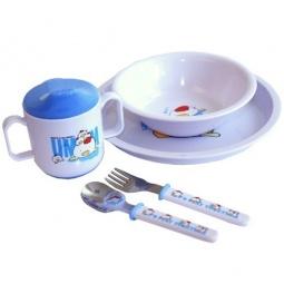Купить Набор посуды СКАЗКА: тарелка, миска, поильник, ложка и вилка