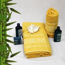 фото Полотенце махровое Mariposa Tropics mustard. Размер полотенца: 70х140 см