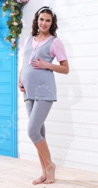 Пижама для беременных BlackSpade 5639 с коротким рукавом станет неотъемлемой частью вашего домашнего гардероба. Модель отличается стильным современным дизайном и великолепным качеством пошива. Пижама выполнена из смеси хлопка и эластана. Эти материалы отлично зарекомендовали себя в пошиве домашней одежды, благодаря своей мягкости, воздухопроницаемости, способности впитывать влагу и устойчивости к истиранию. Модель имеет свободный крой, удобна и практична в носке, не стесняет движений.