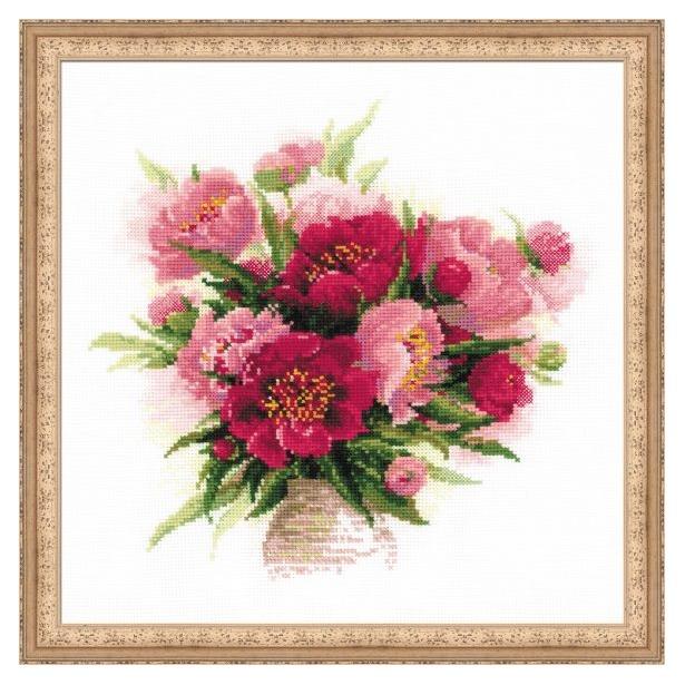 фото Набор для вышивания крестиком Сотвори Сама «Пионы в вазе»