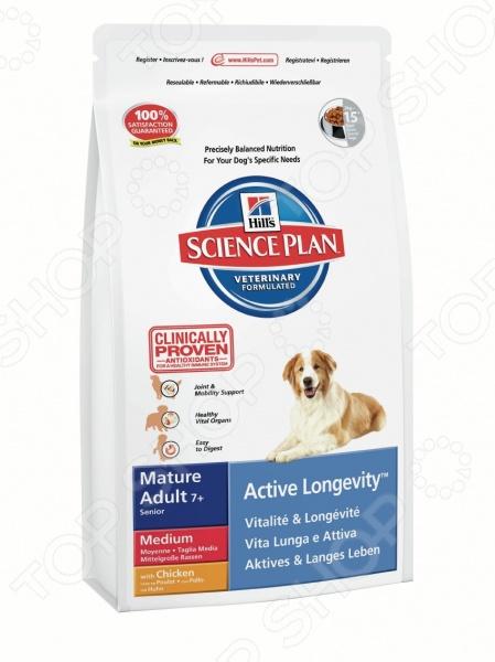 Корм сухой для пожилых собак средних пород Hill's Science Plan Mature Adult Medium 7+ с курицей