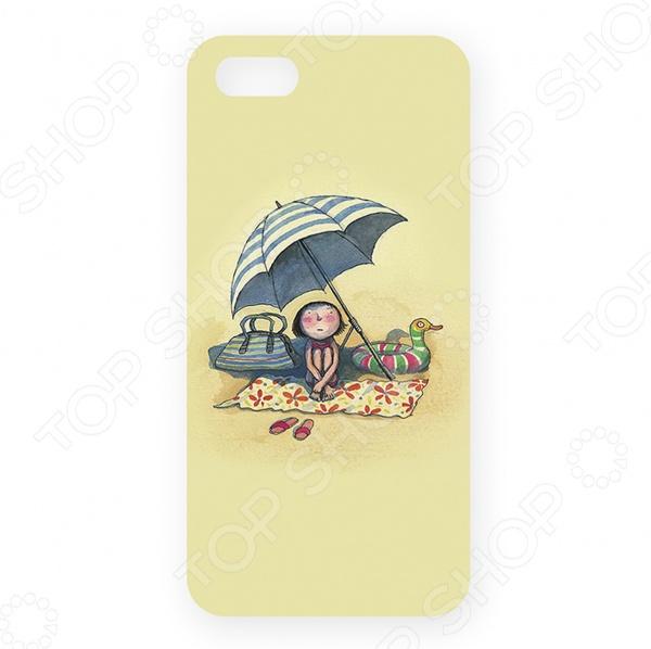 Чехол для iPhone 5 Mitya Veselkov «Девочка на пляже под зонтом» цена