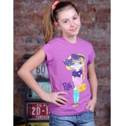 фото Футболка для девочек Detiland SS15-UBL-GTS-949. Цвет: сиреневый. Рост: 128 см
