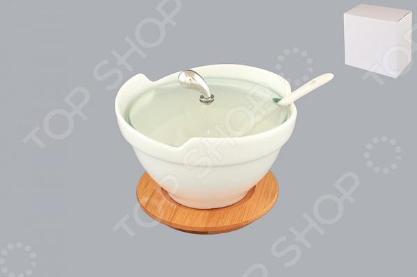 Салатник с крышкой и ложкой Elan Gallery «Снежная королева»Салатницы<br>Салатник с крышкой и ложкой Elan Gallery Снежная королева красочная посуда на деревянной подставке, которая внесет разнообразие в сервировку кухонных принадлежностей. Приготовление пищи станет более приятным и легким процессом, так как в ней удобно перемешивать продукты и легко мыть. Станет отличным подарком для любителей стильных вещей. Материал абсолютно безопасен и не вступает в реакцию с продуктами, а так же не влияет на запах и вкус готового изделия.<br>