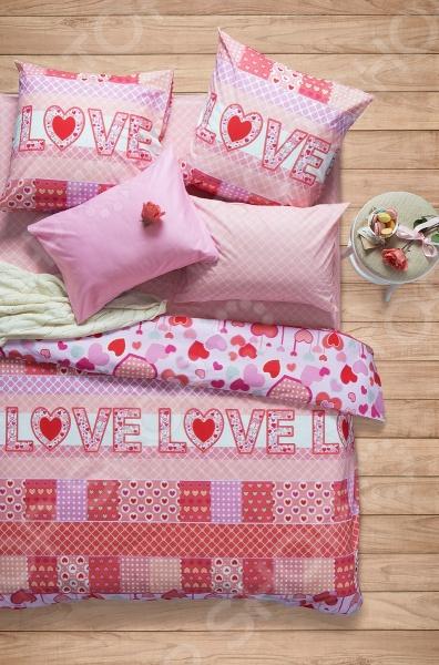 Комплект постельного белья Сова и Жаворонок Premium «Амарант». Евро