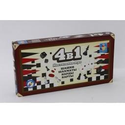Купить Игра настольная 4 в 1 1 Toy «Шашки/шахматы/нарды/карты»