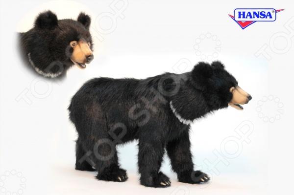 Мягкая игрушка для ребенка Hansa «Черный медведь» мягкая игрушка медведь hansa 4982 искусственный мех черный 90 см лежащий