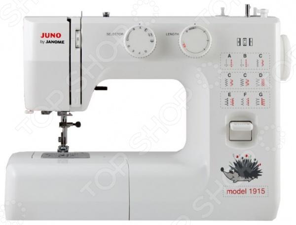 Швейная машина Janome JUNO 1915Швейные машины<br>Швейная машина Janome JUNO 1915 это отличный выбор как для начинающих мастериц, так и для профессионалов своего дела. Машина имеет электромеханический тип управления и подходит для выполнения основных швейных операций, ремонта и пошива одежды. Модель снабжена вертикальным челноком, функцией реверса и системой подсветки рабочей зоны. В вашем распоряжении 13 швейных операций и 4 вида строчки: оверлочная, потайная, эластичная и эластичная потайная. Есть возможность шитья двойной иглой. Торговая марка Janome зарекомендовала себя как один из лучших производителей на рынке швейных машин. Компания также занимается производством оверлоков, вышивальных и распошивальных машин. Функциональность, практичность и инновационные решения вот основные принципы торгового бренда Janome.<br>