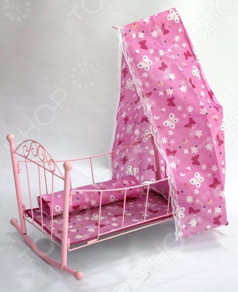 Кроватка для кукол Shantou Gepai с балдахином 43699 кукольная кроватка с балдахином melobo 9350e