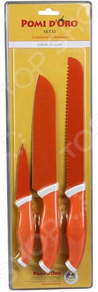 Набор ножей POMIDORO SET32Ножи<br>Набор ножей POMIDORO SET32 с лезвиями из высококачественной нержавеющей стали станет незаменимым на вашей кухне. Идеально подойдет для шинковки, чистки, нарезки овощей и фруктов, а также перерубания мелких костей. Лезвия ножей долго сохраняют заточку, а цельнокованная конструкция клинков гарантирует долговечность изделий. Эргономичная рукоять каждого изделия выполнена из прорезиненного пластика. Рельефная поверхность рукояти обеспечит надежный захват и не даст ножу скользить в руке при использовании. В комплекте поставляется 3 ножа различного назначения. С набором ножей POMIDORO SET32, вы почувствуете себя профессиональным шеф-поваром.<br>