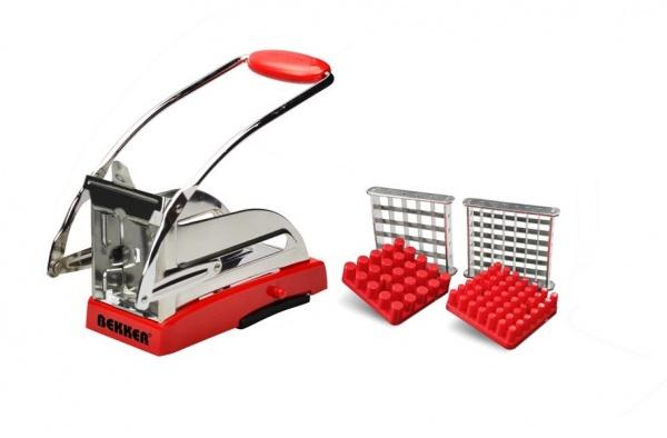 Картофелерезка Bekker BK-5206Терки. Шинковки<br>Картофелерезка Bekker BK-5206 представляет собой надежное и простое в использовании приспособление для быстрого нарезания картофеля и других овощей. Лезвия выполнены из нержавеющей стали, а корпус из прочного пластика, что гарантирует длительный срок службы и неприхотливость в обслуживании. Картофелерезка Bekker BK-5206 позволяет сэкономить время и облегчить процесс нарезания заготовок для блюд, готовящихся во фритюре. Изделие легко разбирается, быстро моется и занимает мало места при хранении.<br>