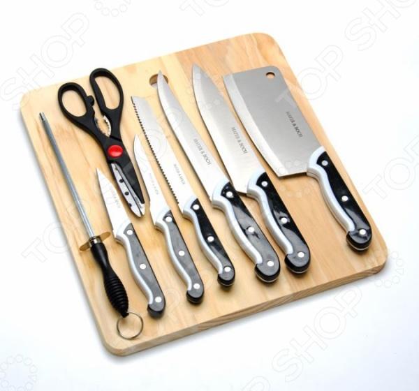 Набор ножей Mayer&amp;amp;Boch МВ-3178Ножи<br>Набор ножей Mayer Boch МВ-3178 это традиционные ножи в современном исполнении, отличные помощники на любой кухне. Ножи можно использовать при резке мяса, фруктов, овощей и других продуктов. Оснащены острыми лезвиями из нержавеющей стали, также эргономичными ручками для более удобного хвата. При правильном обращении прослужат вам долгие годы. В наборе есть 6 ножей, ножницы, точилка, деревянная разделочная доска.<br>