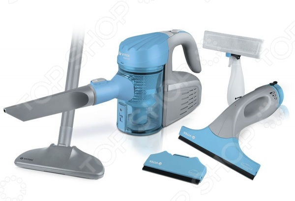 Пылесос Vitek VT-1810Минипылесосы<br>Пылесос Vitek VT-1810 - представляет собой набор для уборки дома, который состоит из пылесоса и мойки для окон. Пылесос с мешком для сбора пыли позволит быстро и легко навести порядок в доме и избавиться от пыли и грязи. Устройство оснащено 4-х ступенчатой системой фильтрации, которая предотвращает обратный выброс пыли в помещение. В комплект входят различные насадки, которые позволят без труда очистить самые различные бытовые поверхности. Модель оснащена индикаторами, которые оповещают о необходимости замены пылесборников. Так же имеется функция автосматывания шнура. Так же в набор входит стеклоочиститель с двумя насадками, работающий от аккумулятора. Стеклоочиститель позволит легко и без лишних хлопот очистить окна, зеркала и другие стеклянные поверхности.<br>