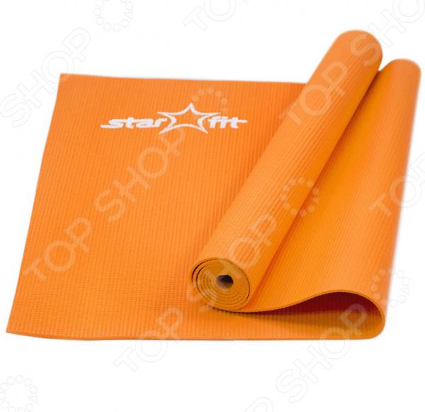 Коврик для йоги Star Fit FM-101Йога<br>Коврик для йоги Star Fit FM-101 незаменимый аксессуар любого спортсмена, вне зависимости от вида спорта. В начале его изготавливали для альпинистов и путешественников, которые используют это изделие как дополнительное утепление пола в палатке. На сегодняшний день такие коврики используются йогами для более комфортного выполнения различных сидячих и лежачих позиций. Коврик необходим для растяжки до и после тренировки, которые снижают риск травмы во время занятий. Во процессе фитнеса и функционального тренинга этот аксессуар используется практически все время, в зависимости от вида занятий. Для людей, занимающихся медитацией, изделие нужно для защиты внутренних органов и мышц от переохлаждения, а также коврик позволяет йогу устроиться поудобней и полноценно расслабиться. Изделие выполнено из безвредного для здоровья ПВХ, с мягкой и упругой текстурой. Яркий цвет материала радует глаз и не линяет во время чистки. Коврик можно использовать дома, в спортивных и тренажерных залах, а также на улице. Материал легко чиститься, что позволяет практиковать свои занятия даже на песке. Во избежание разрыва поверхности коврика, занятия должны проходить босиком или в обуви с мягкой подошвой. Для уютных и комфортных тренировок, для погружения в нирвану в ходе медитации выбирайте коврики для йоги от STARFIT.<br>