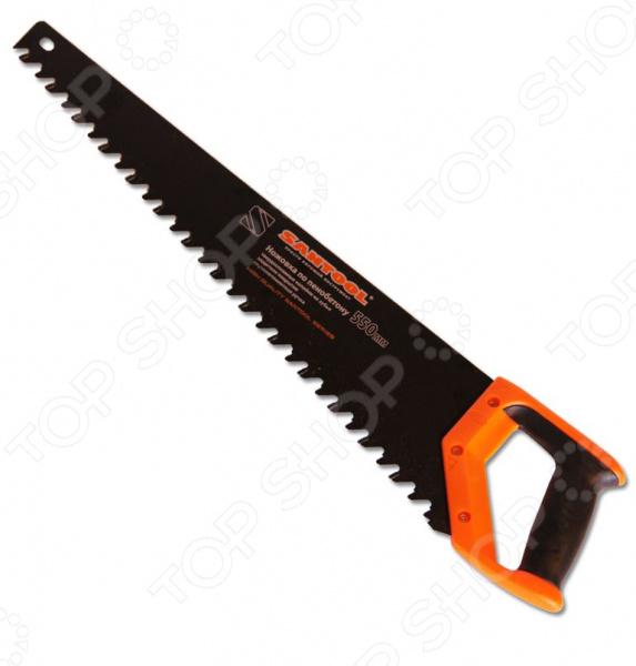 Ножовка по пенобетону SANTOOL 030121-550Лобзики. Ножовки. Пилы<br>Ножовка по пенобетону SANTOOL 030121-550 инструмент, используемый для распила пенобетонных блоков. Она станет отличным дополнением к набору ваших слесарных инструментов и пригодится при выполнении различных монтажных и строительных работ. Полотно ножовки выполнено из высокопрочного материала и покрыто составом, способствующим снижению трения и защищающим от возникновения коррозии. На зубьях имеются специальные твердосплавные напайки, а эргономичная прорезиненная рукоятка обеспечивает удобный и надежный захват инструмента во время выполнения работ.<br>