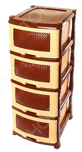 комод альтернатива плетенка цвет коричневый бежевый 37 5 х 36 х 83 см Комод 4-х секционный Violet 0354 «Плетенка»