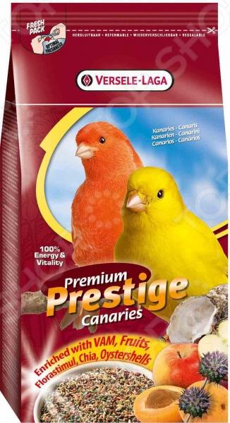 Корм для канареек Versele-Laga Premium Prestige СanariesКорма. Лакомства для птиц<br>Корм для канареек Versele-Laga Premium Prestige Сanaries относится к кормам премиум класса и представляет собой полноценное и сбалансированное питание для вашего пернатого друга. Рацион изготовлен из натуральных легкоусвояемых ингредиентов и обогащен всеми необходимыми витаминами и минералами. В состав корма входят семена чиа, гранулы VAM, фрукты и ракушки устриц. Кормовые смеси Versele-Laga производятся из отборного сырья по специально разработанным рецептурам.<br>
