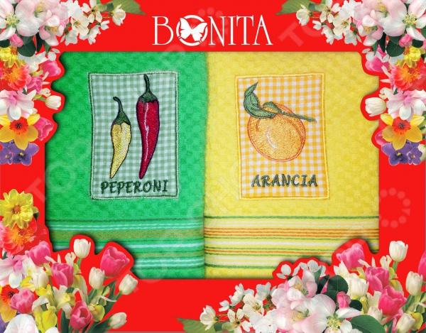 Комплект из 2-х махровых полотенец подарочный BONITA «Солнечный» ткань для полотенец оптом в москве