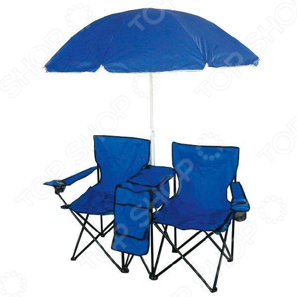 Набор складных кресел (2шт) с зонтом Irit IRG-522Табуреты, стулья, столы<br>Набор мебели складной Irit IRG-522 отличный вариант для дачного отдыха, пикников, кемпинга. Благодаря легкому весу и складной конструкции его очень удобно брать с собой в поездку. В набор входят два кресла с подлокотниками и подстаканниками и зонт, между которыми расположен небольшой стол с изотермической сумкой. Максимально допустимая нагрузка на кресло составляет 100 кг. Набор упакован в специальный мешок для хранения.<br>