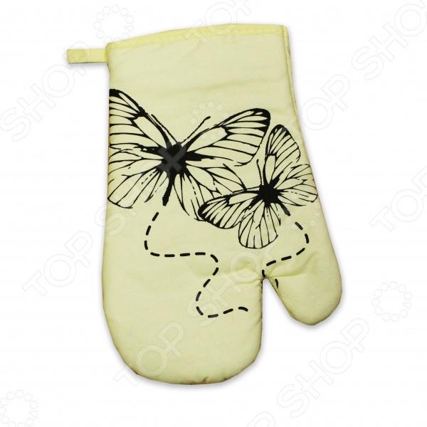 Варежка-прихватка Bon Appetit ButterflyКухонные полотенца. Прихватки<br>Варежка-прихватка Bon Appetit Butterfly поможет каждой хозяйке готовить с комфортом и создавать настоящие кулинарные шедевры. Такой полезный аксессуар нужен на каждой кухне, ведь он защищает кожу от воздействия высоких температур. Благодаря оригинальному дизайну изделия, ярким насыщенным цветам и мягкому материалу, процесс приготовления пищи становится в разы легче и веселее. Такая прихватка добавит в интерьер кухни радостное настроение. Изделие выполнено из натурального хлопка, безопасного для здоровья человека и не вызывающего аллергии. А специальная петелька поможет разместить варежку на стенном крючке, чтобы она всегда была рядом с вами. Прихватка нежного бежевого цвета с изящными бабочками станет отличным подарком и порадует каждую хозяйку.<br>