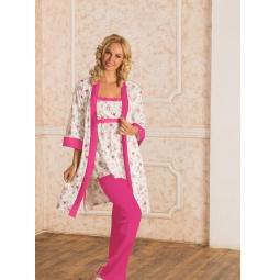 фото Комплект: халат и пижама с брюками Nuova Vita 116.52. Цвет: экрю, фуксия. Размер: 42