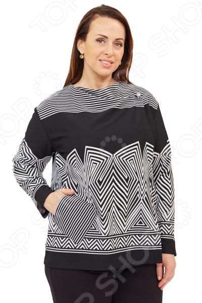 Кардиган СВМ-ПРИНТ «Домна». Цвет: черныйДжемперы. Кардиганы. Свитеры<br>Кардиган СВМ-ПРИНТ Домна создан с учетом всех особенностей женской фигуры, чтобы вы могли легко создать неповторимый и элегантный женственный образ. Благодаря продуманному дизайну модель идеально подойдет женщинам с любым типом фигуры и любого возраста. Этот кардиган прекрасен как для повседневного использования, так и для торжественных случаев.  Стильный запашной кардиган на двух пуговицах одна спрятана внутри .  Сбоку предусмотрен один накладной карман.  Швы обработаны текстурированными эластичными нитями, поэтому не натирают кожу.  Уникальная модель, доступная только в телемагазине Top Shop .  На фотографии кардиган представлен в сочетании с брюками Уран .  Сшит из мягкого трикотажного полотна, состоящего на 100 из полиамида.<br>