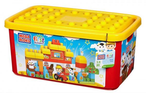 Конструктор для малышей Mega Bloks Ферма создан для самых маленьких детей. Набор включает в себя 95 крупных разноцветных пластиковых элемента-блока, в том числе фигурки животных, фермеров на машине, деревьев, что позволит собрать вашему малышу настоящую ферму. Крупные детали крупный идеально подходят для маленьких детских ручек. Играя с этим набором, малыш познакомится с такими понятиями как цвет, форма, размер, а также улучшит мелкую моторику рук, координацию движений, воображение и фантазию.