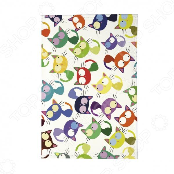 Обложка для паспорта Mitya Veselkov «Цветные кошки - мешанина»