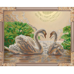 Купить Набор для вышивания бисером Светлица «Лебеди»