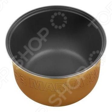 Чаша для мультиварки Marta MT-MC3121 - дополнительная чаша для мультиварки объемом 5 л, которая позволяет приготовить различные блюда без добавления масла или жира. Чаша имеет утолщенные стенки 1,8 мм и двухслойное керамическое покрытие, которое не окисляется, не сдержит вредные примеси и равномерно распределят тепло. Чаша выдерживает высокие температуры без ущерба для своих технических и качественных характеристик. Керамика уменьшает потерю естественных питательных веществ при термической обработки продуктов, сохраняет их вкус и аромат.