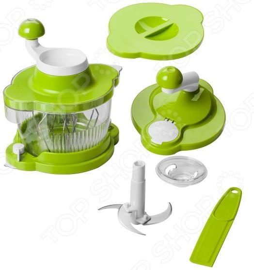 Овощерезка Twist Cutter универсальное приспособление, с помощью которого можно нарезать, измельчить, нашинковать, смешать, взбить, перемешать ингредиенты всего за несколько секунд. Забудьте при этом о спутанных шнурах питания или необходимости подключения устройства к электросети. Больше не нужно прикладывать усилия в процессе приготовления пищи. Наслаждайтесь готовкой с помощью инновационной овощерезки Twist Cutter. Просто установите крышку для нарезания ингредиентов и поворачивайте ручку. Идеальное измельчение овощей всего за несколько секунд. Также в мгновение ока измельчайте зелень, лед и замороженные фрукты для приготовления смузи. Забудьте об использовании блендера. Неважно, хотите вы приготовить густой соус сальса или пюре однородной консистенции для малыша овощерезка Twist Cutter превосходно справится со своей задачей. Особенности Twist Cutter:  Саблевидные ножи из нержавеющей стали G-Nox идеально измельчают овощи всего за несколько секунд.  Насадка-крышка с 6 палочками для взбивания ингредиентов.  Съемная чаша объемом 1,4 л.  Нарезанные ломтики попадают сразу в емкость меньше беспорядка на кухне.  Герметичная крышка.  Сепаратор для яиц.  Основание с ножками-присосками.  Для работы не требуется подача электропитания.  Простая в использовании.