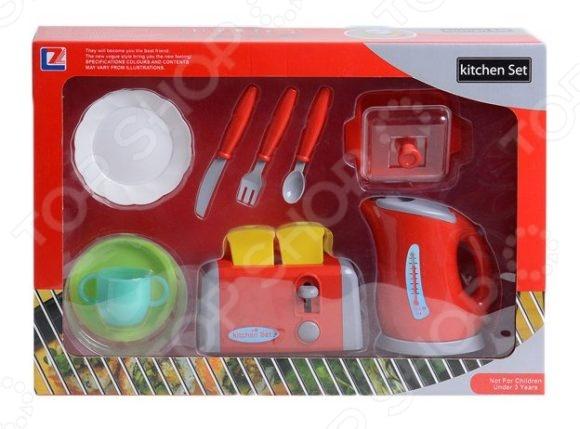 Игровой набор с техникой для кухни Shantou Gepai «Чайник, тостер и посуда»