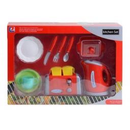 фото Игровой набор с техникой для кухни Shantou Gepai «Чайник, тостер и посуда»