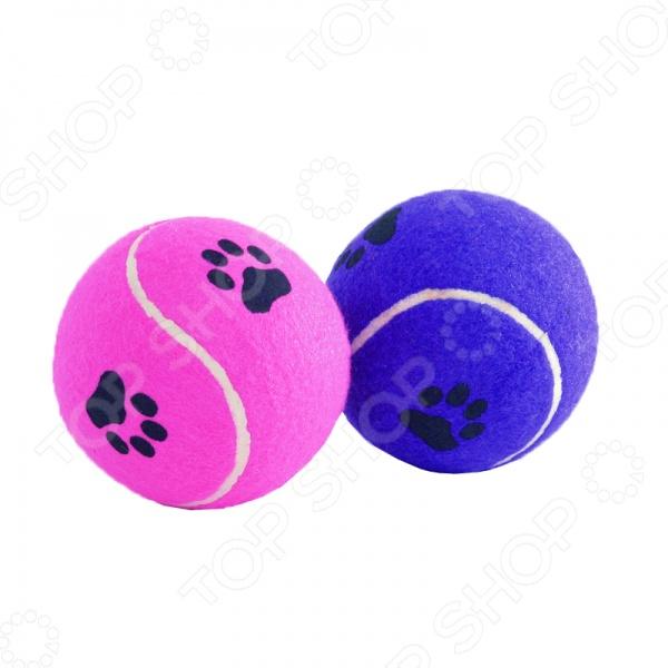 Игрушка для собак Beeztees «Мячик теннисный с отпечатками лап». В ассортименте