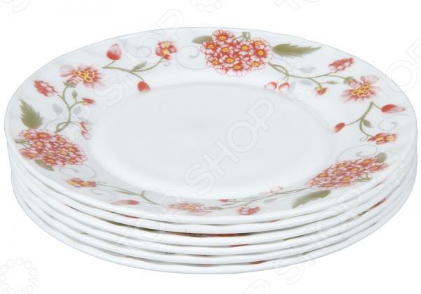 Набор тарелок Rosenberg 1228-641Обеденные тарелки<br>Каждая хозяйка знает насколько важна в кулинарии сервировка и правильная подача блюд. От того как блюдо оформлено, в какой посуде подано и как смотрится на тарелке, зависит едва ли не половина вашего успеха. Набор тарелок Rosenberg 1228-641 станет прекрасным дополнением к комплекту кухонных принадлежностей и подойдет для сервировки как обеденного, так и праздничного стола. Тарелки выполнены из ударопрочного стекла и декорированы оригинальным цветочным рисунком. В наборе шесть штук.<br>