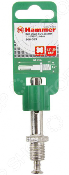 Переходник для дрели Hammer Flex 208-305 CH-SDSПрочие расходные материалы для строительства и ремонта<br>Переходник для дрели Hammer Flex 208-305 CH-SDS это необходимый элемент оснастки для удобной и комфортной работы. Надежный и прочный переходник позволяет значительно расширить функции вашей дрели и увеличить области её применения. Выполнен из высококачественной стали, которая отличается впечатляющим эксплуатационным ресурсом. Оснастка подходит для работы с патронами 1,2-20UNF. Переходник SDS легко вставляется в инструмент, что также гарантирует быструю и удобную замену нужных насадок.<br>