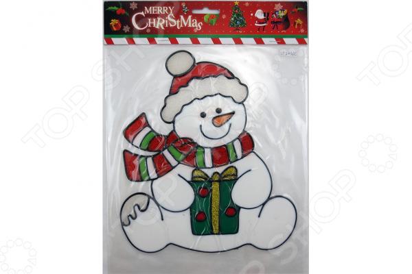 Новогодняя наклейка на стекло Crystal Deco «Снеговик» 1707849 стоимость