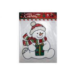 фото Новогодняя наклейка на стекло Crystal Deco «Снеговик» 1707849
