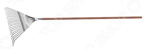Грабли веерные усиленные PALISAD LUXE 61790Грабли<br>Грабли веерные усиленные PALISAD LUXE 61790 это незаменимый инструмент, который необходим каждому владельцу частного дома. С их помощью вы можете собирать скошенную траву, опавшую листву или плоды, использовать в качестве разрыхлителя для почвы. Металлические грабли отличаются повышенной жесткостью, поэтому подойдут для работы с дерном. Можно отметить следующие достоинства этого садового инструмента:  Грабли применяются для чистки газонов от скошенной травы или листьев, при этом, не повреждая сам газон.  Зубья выполнены из пружинной стали 65Г и имеют повышенную жесткость, что обеспечивает удобство в работе.  Длина ручки из красного дерева 150 мм.  22 плоских зуба, охват рабочей части 550 мм.<br>