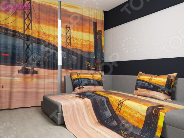 Комплект: фотошторы и покрывало Сирень «Мост на фоне яркого заката»Фотошторы<br>Комплект: фотошторы и покрывало Сирень Мост на фоне яркого заката элемент, способный украсить и оживить интерьер любой комнаты. Застелите ваш диван или кровать этим покрывалом, и привычная мебель станет еще уютнее, чем раньше. А шторы, выполненные в едином стиле с покрывалом, станут завершающим штрихом в оформлении комнаты. При этом такой комплект может стать хорошим подарком близкому человеку. В комплекте вы найдете:  Две фотошторы, размер каждой из которых составляет 145х260 см 3 см .  Покрывало размером 145х220 см 3 см . Оцените основные преимущества комплекта из коллекции бренда Сирень :  Оригинальный дизайн придаст изюминку интерьеру.  Сделано из качественных износостойких материалов. Изображение на ткани долго не линяет и не выгорает.  Рисунок нанесен на материал при помощи специальной технологии, создающей эффект 3D. Смотрится очень эффектно. Покрывало и шторы выполнены из ткани габардин, состоящей на 100 из полиэстера. На поверхности полотна заметны диагональные рубчики, полученные в результате саржевого плетения в процессе производства. В результате изделие отличается своей прочностью и долговечностью, сохраняет первоначальный вид в течение длительного времени. Рекомендуется ручная стирка при температуре 30 C или в стиральной машине в деликатном режиме. Шторы крепятся при помощи шторной ленты под крючки .<br>